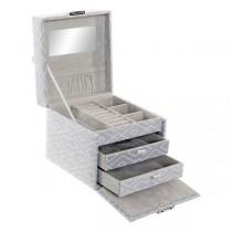 Caja-Joyero DKD Home Decor Con tela Flocado Boho (15 x 15 x 12 cm) | DKD Home Decor | Accesorios y organizadores | Maquillali...